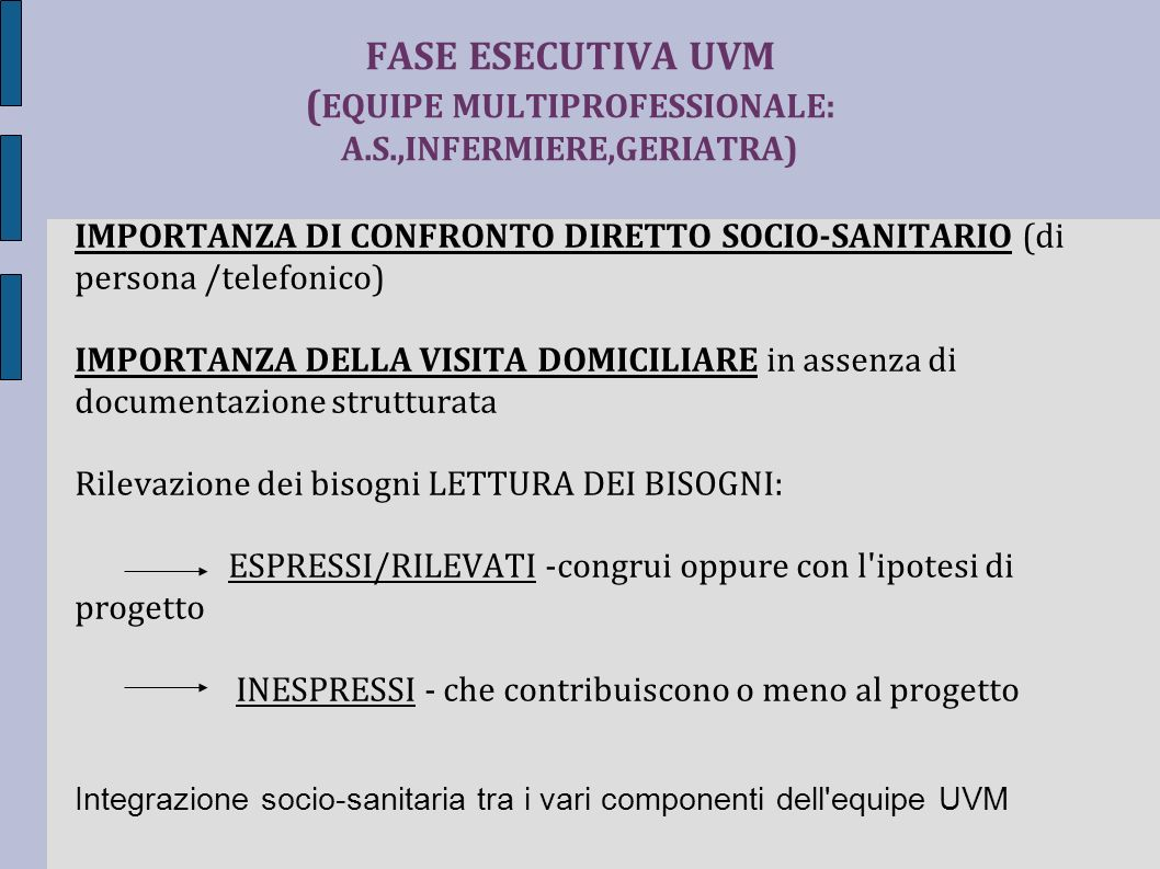 FASE ESECUTIVA UVM (EQUIPE MULTIPROFESSIONALE: A. S