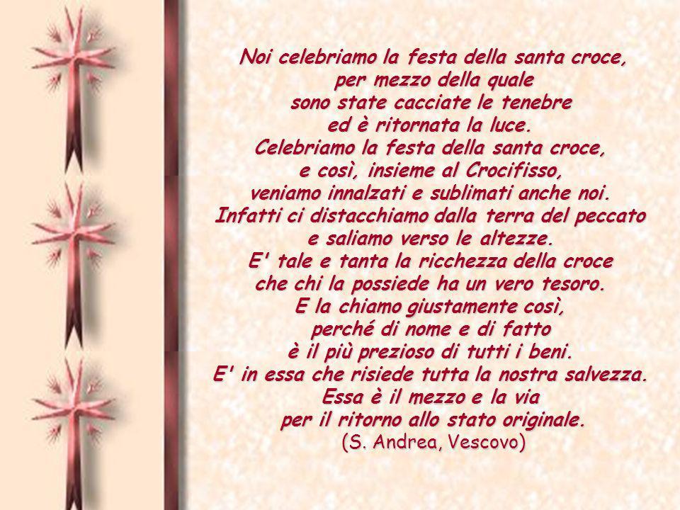 Noi celebriamo la festa della santa croce, per mezzo della quale