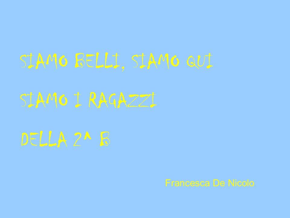 SIAMO BELLI, SIAMO QUI SIAMO I RAGAZZI DELLA 2^ B Francesca De Nicolo