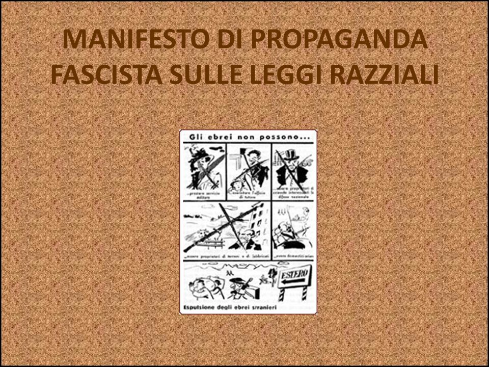 MANIFESTO DI PROPAGANDA FASCISTA SULLE LEGGI RAZZIALI