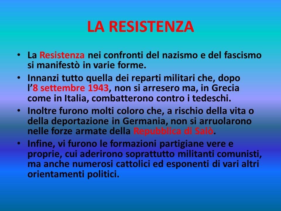 LA RESISTENZA La Resistenza nei confronti del nazismo e del fascismo si manifestò in varie forme.