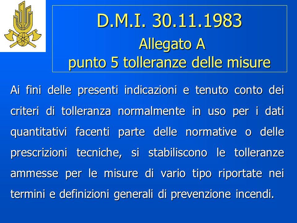 D.M.I. 30.11.1983 Allegato A punto 5 tolleranze delle misure