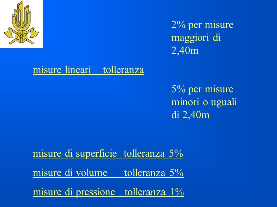misure lineari tolleranza 5% per misure minori o uguali di 2,40m