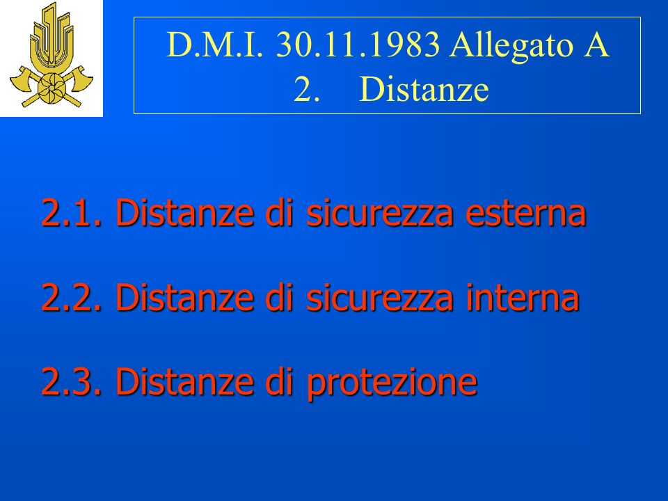 D.M.I. 30.11.1983 Allegato A 2. Distanze