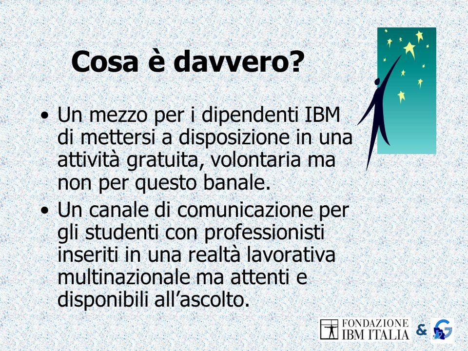 Cosa è davvero Un mezzo per i dipendenti IBM di mettersi a disposizione in una attività gratuita, volontaria ma non per questo banale.