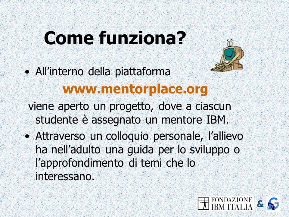 Come funziona www.mentorplace.org All'interno della piattaforma