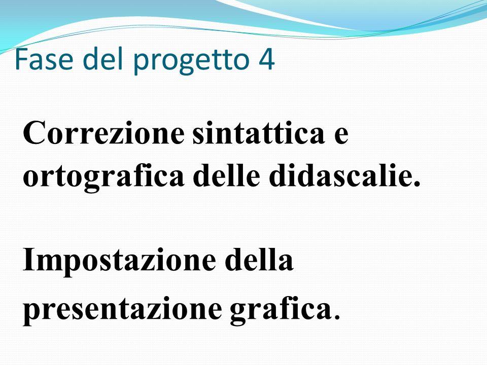 Fase del progetto 4 Correzione sintattica e ortografica delle didascalie.