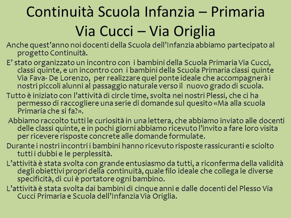 Continuità Scuola Infanzia – Primaria Via Cucci – Via Origlia