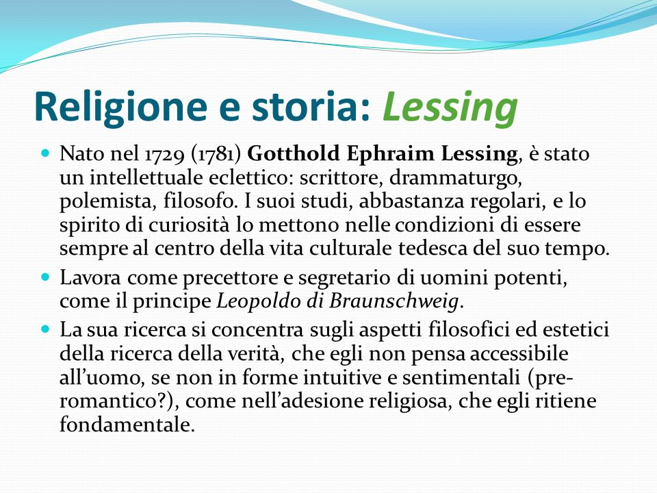 Religione e storia: Lessing