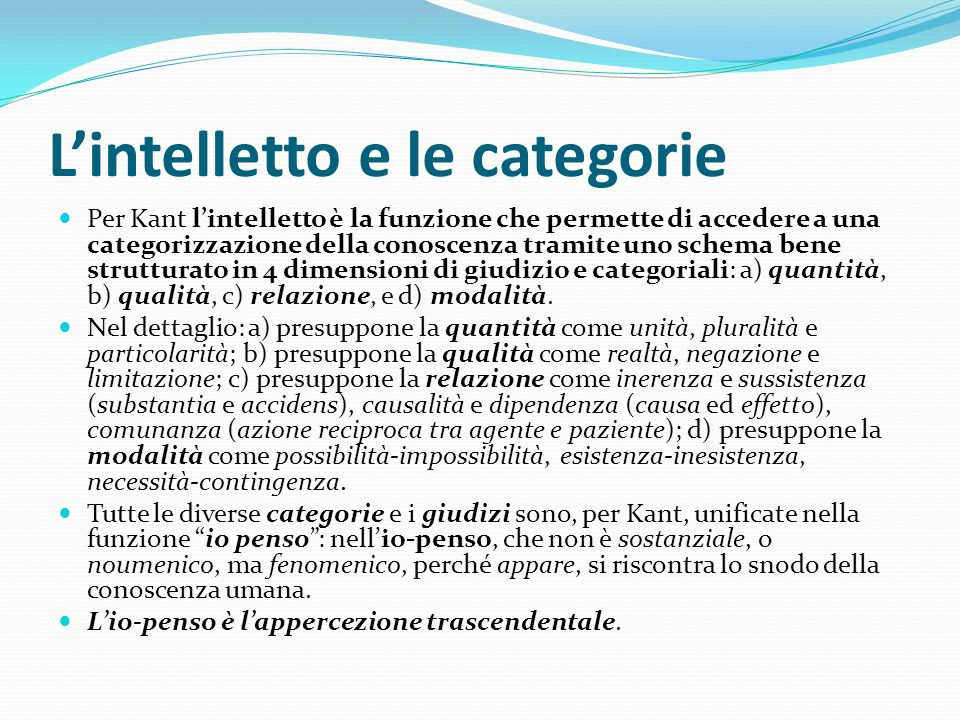 L'intelletto e le categorie