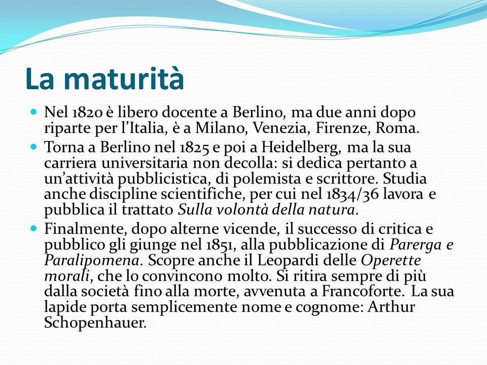 La maturità Nel 1820 è libero docente a Berlino, ma due anni dopo riparte per l'Italia, è a Milano, Venezia, Firenze, Roma.