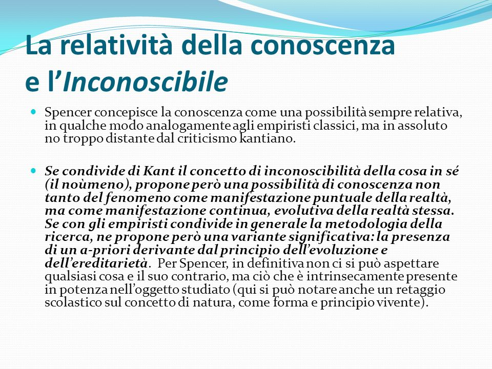 La relatività della conoscenza e l'Inconoscibile