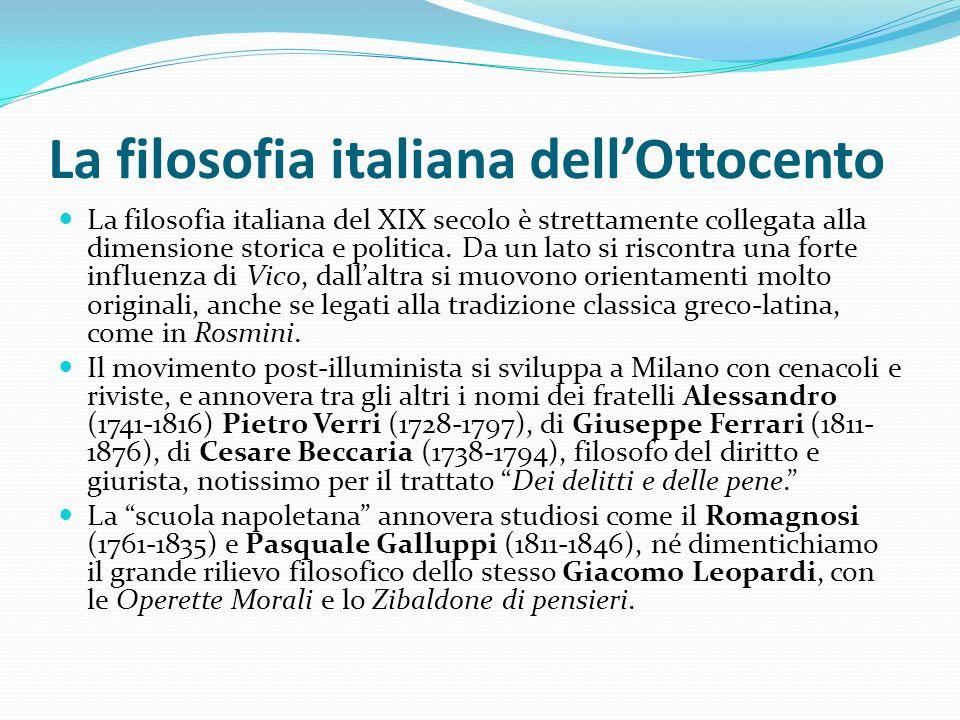 La filosofia italiana dell'Ottocento