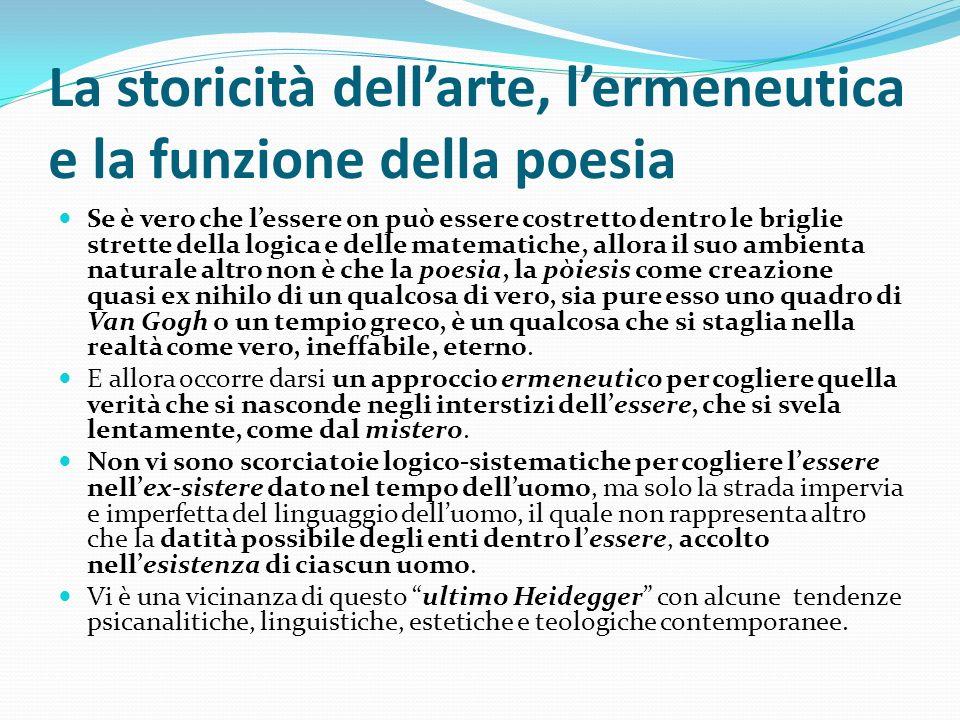 La storicità dell'arte, l'ermeneutica e la funzione della poesia