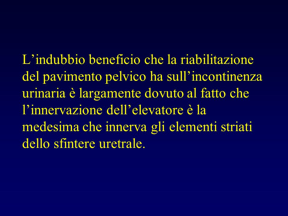 L'indubbio beneficio che la riabilitazione del pavimento pelvico ha sull'incontinenza urinaria è largamente dovuto al fatto che l'innervazione dell'elevatore è la medesima che innerva gli elementi striati dello sfintere uretrale.