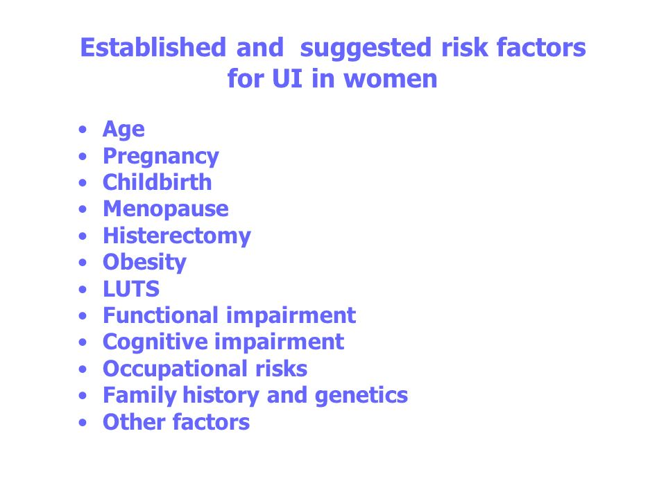 Established and suggested risk factors for UI in women