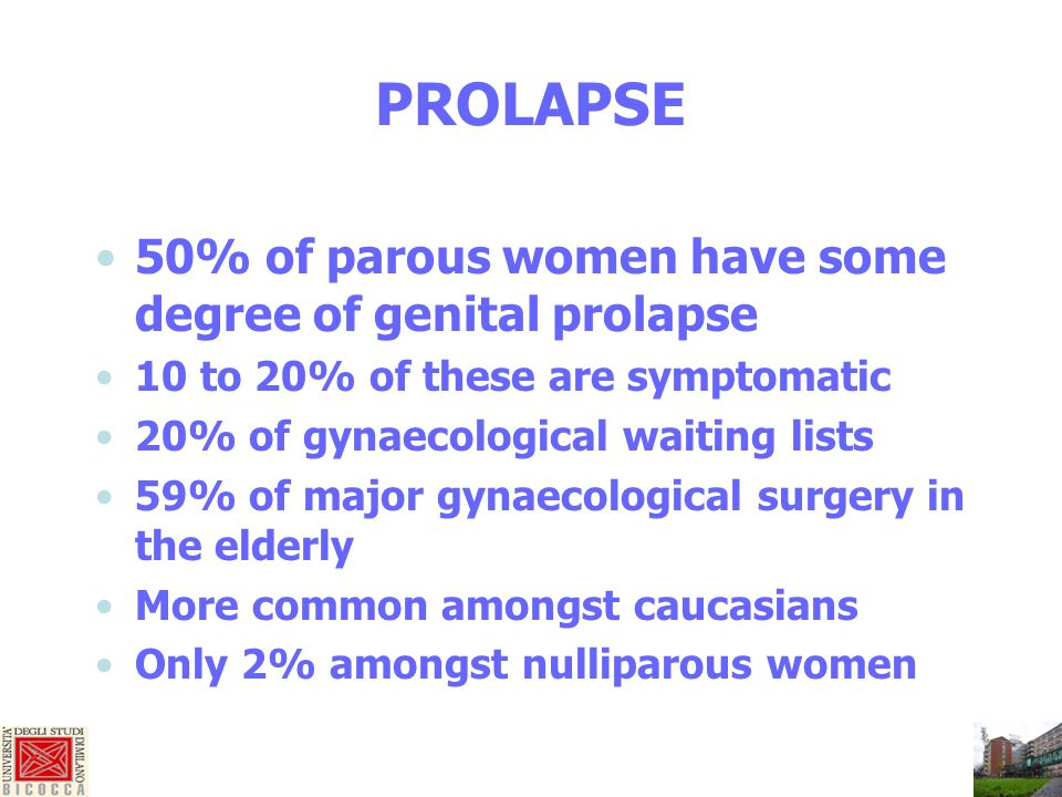 PROLAPSE 50% of parous women have some degree of genital prolapse