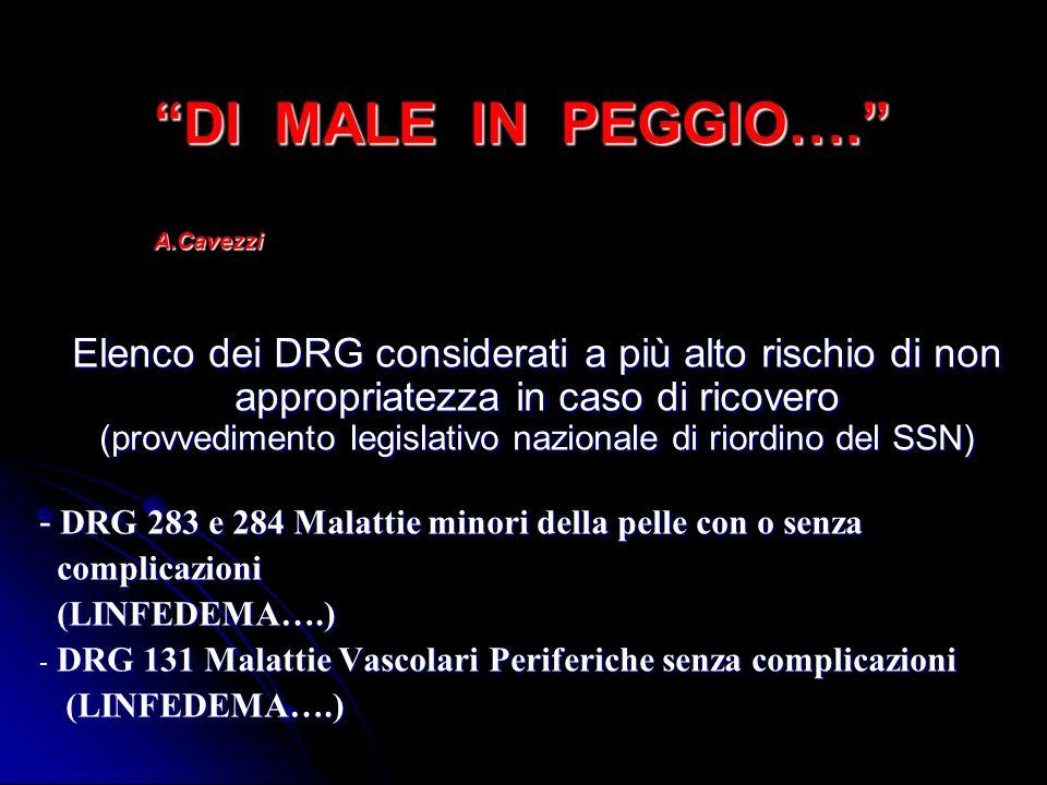 DI MALE IN PEGGIO…. A.Cavezzi