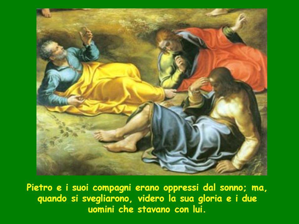 Pietro e i suoi compagni erano oppressi dal sonno; ma, quando si svegliarono, videro la sua gloria e i due uomini che stavano con lui.