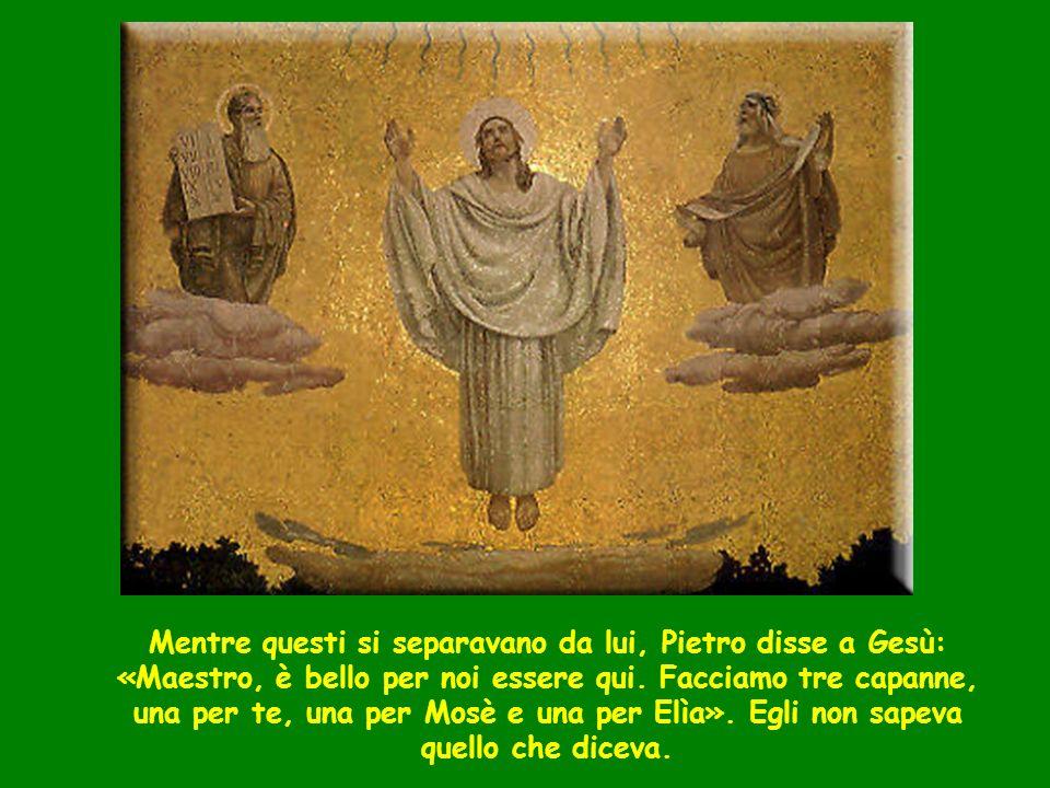Mentre questi si separavano da lui, Pietro disse a Gesù: «Maestro, è bello per noi essere qui. Facciamo tre capanne, una per te, una per Mosè e una per Elìa». Egli non sapeva quello che diceva.