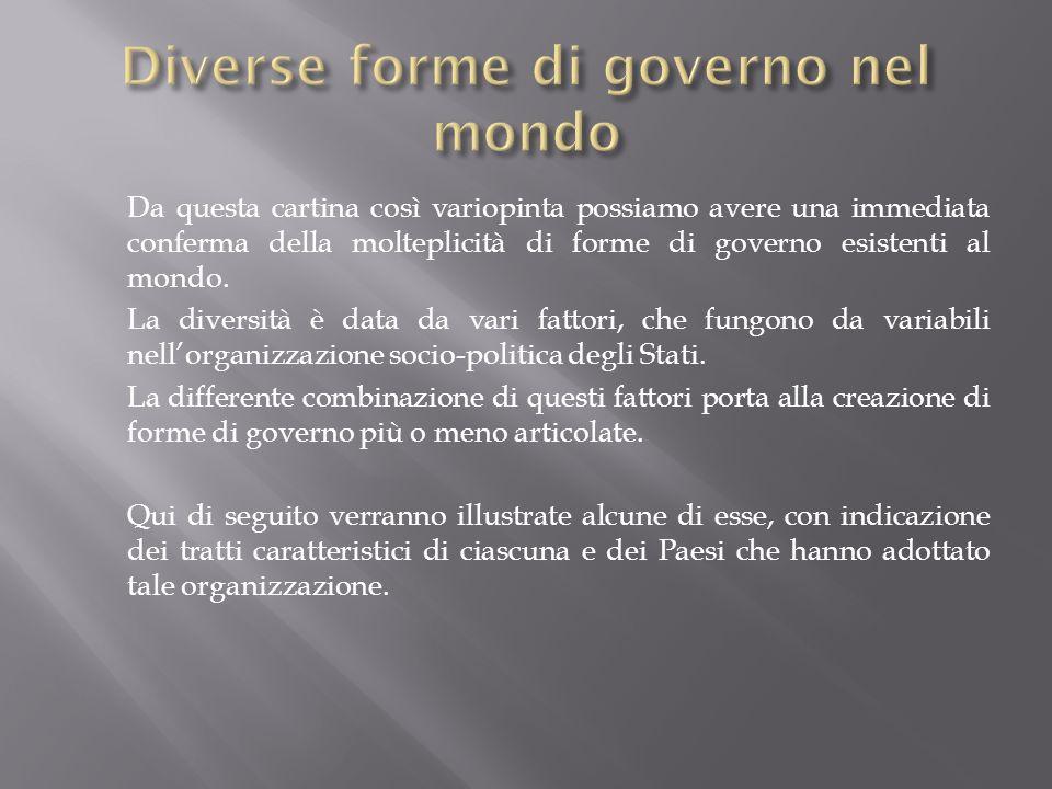 Diverse forme di governo nel mondo