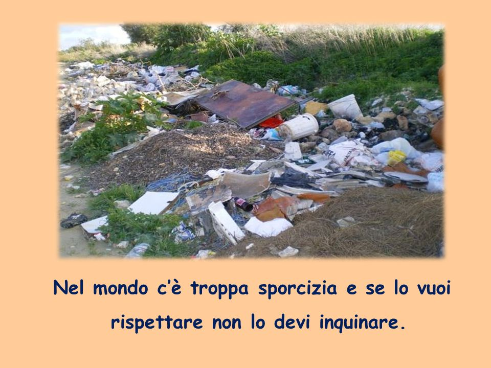 Nel mondo c'è troppa sporcizia e se lo vuoi rispettare non lo devi inquinare.