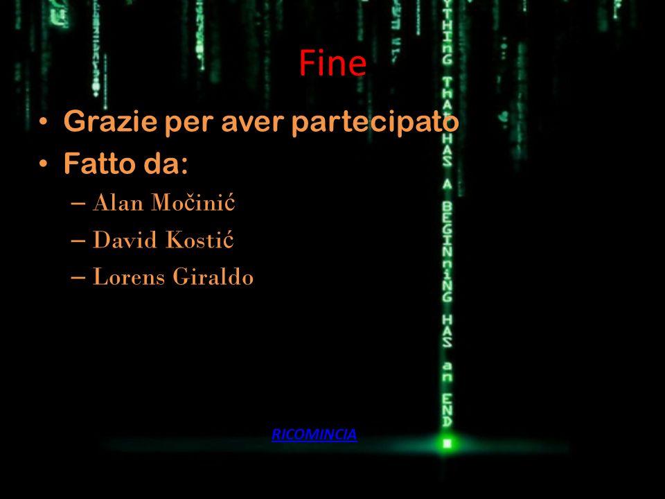 Fine Grazie per aver partecipato Fatto da: Alan Močinić David Kostić
