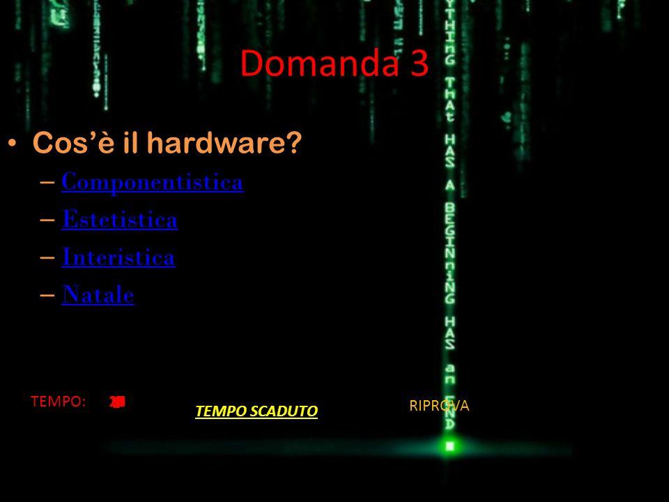 Domanda 3 Cos'è il hardware Componentistica Estetistica Interistica