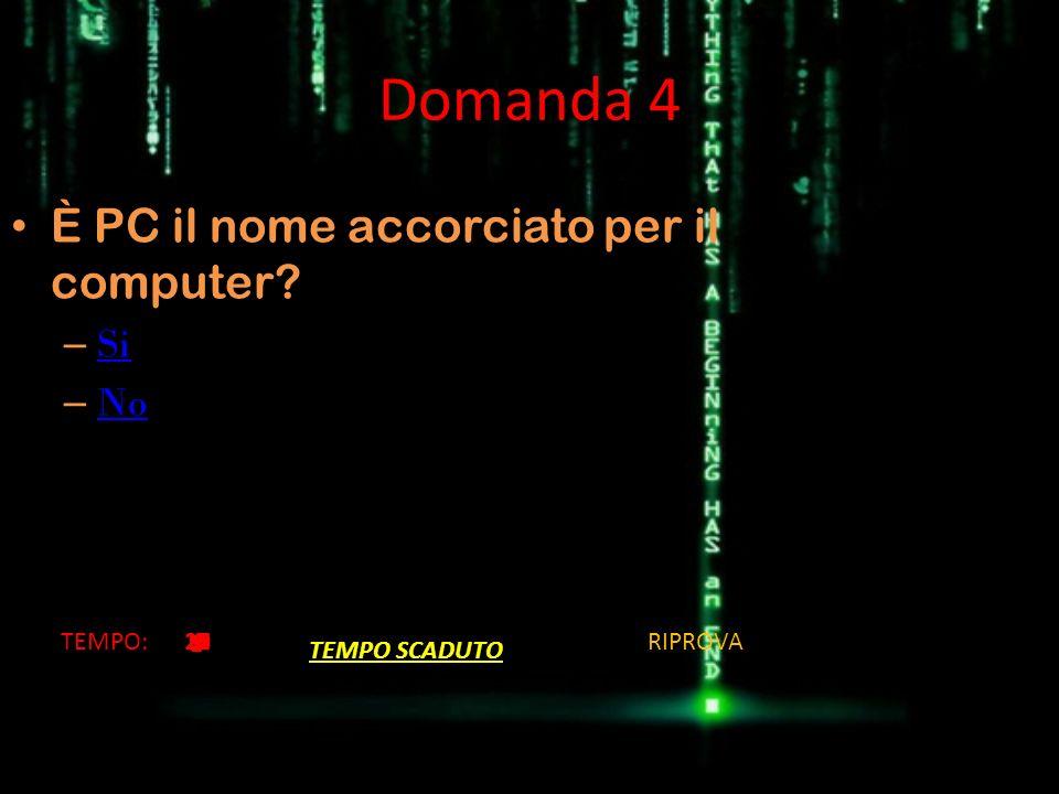Domanda 4 È PC il nome accorciato per il computer Si No TEMPO: 13 14