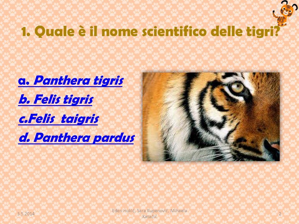 1. Quale è il nome scientifico delle tigri