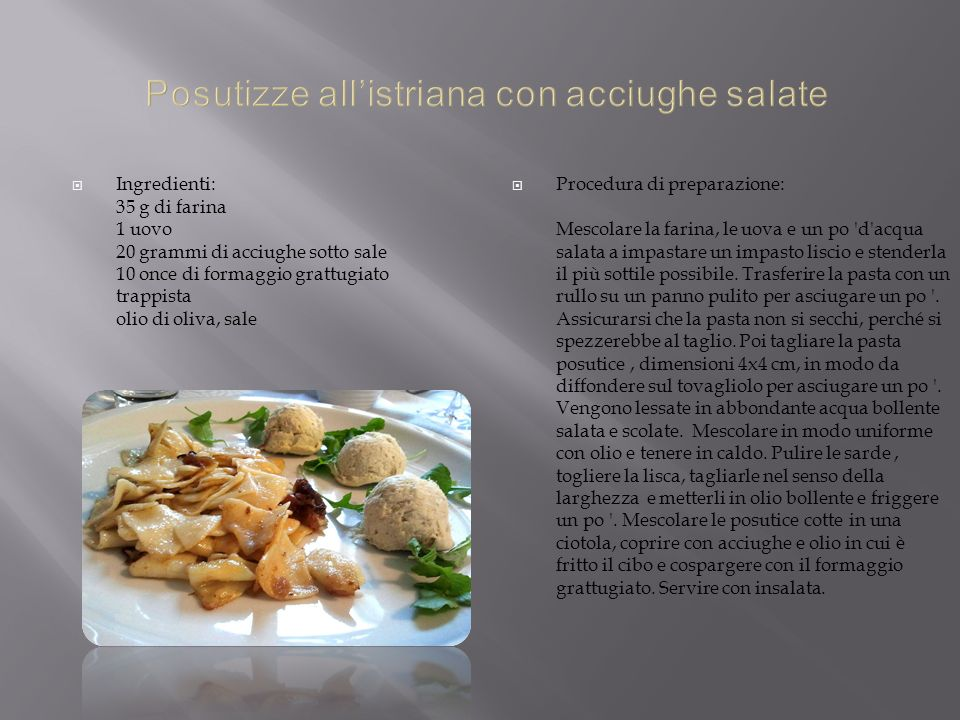 Posutizze all'istriana con acciughe salate
