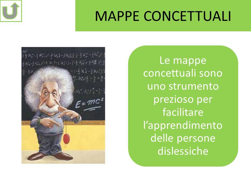 MAPPE CONCETTUALI Le mappe concettuali sono uno strumento prezioso per facilitare l'apprendimento delle persone dislessiche.
