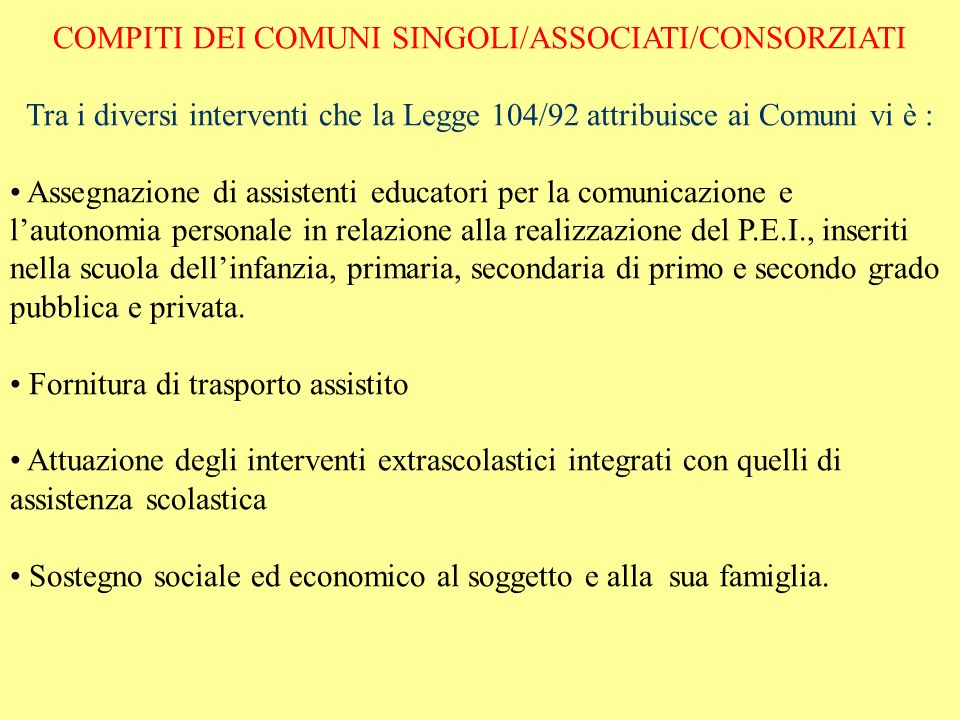 COMPITI DEI COMUNI SINGOLI/ASSOCIATI/CONSORZIATI