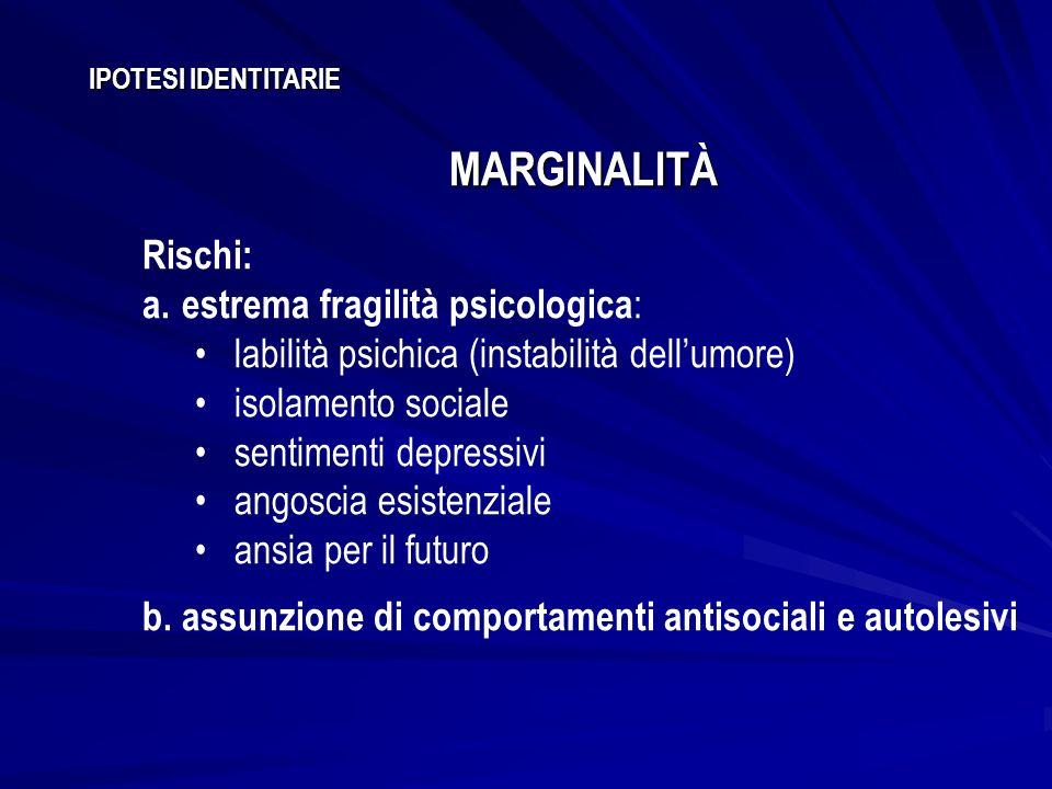 MARGINALITÀ Rischi: estrema fragilità psicologica: