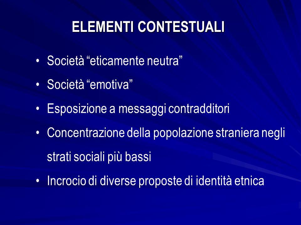 ELEMENTI CONTESTUALI Società eticamente neutra Società emotiva