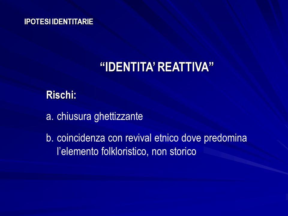 IDENTITA' REATTIVA Rischi: chiusura ghettizzante