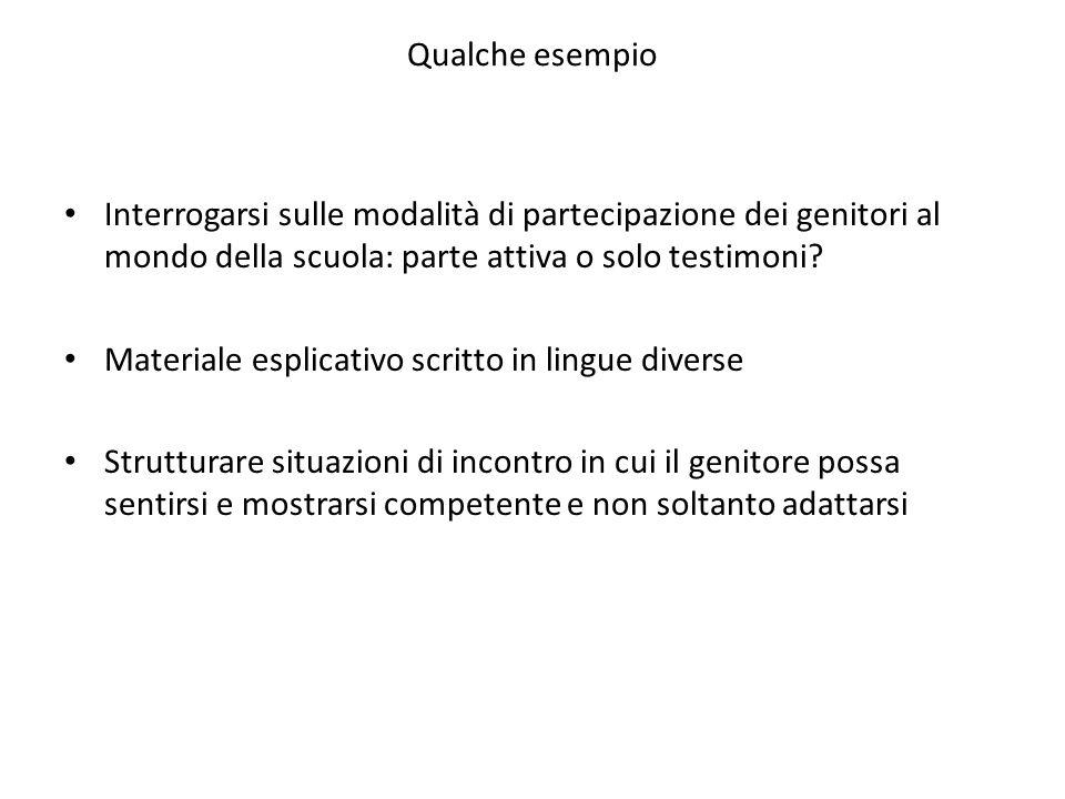 Qualche esempio Interrogarsi sulle modalità di partecipazione dei genitori al mondo della scuola: parte attiva o solo testimoni