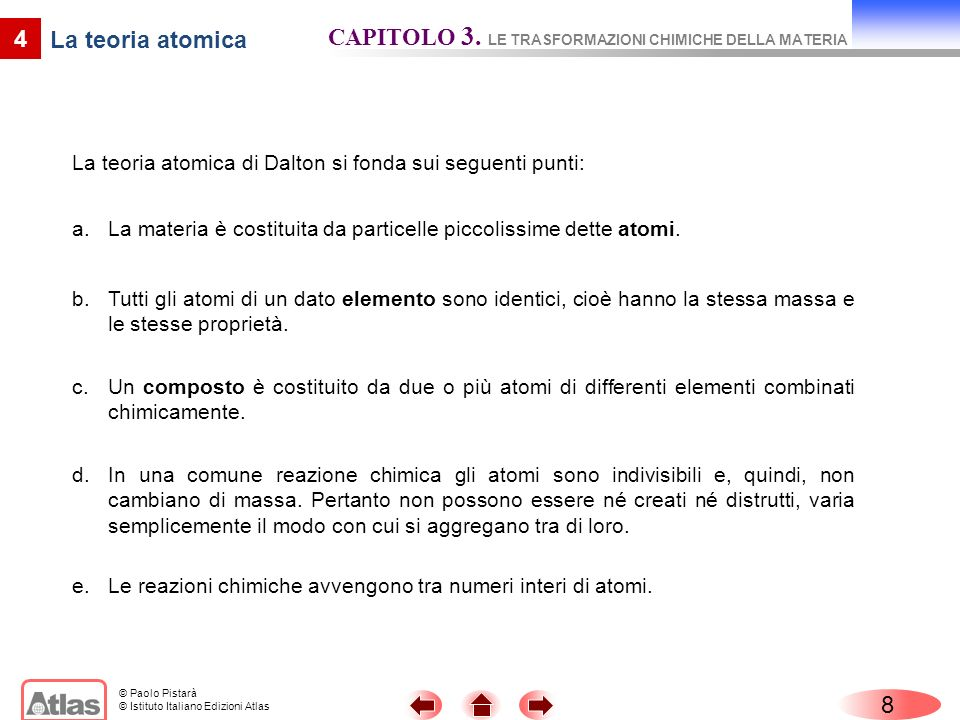 CAPITOLO 3. LE TRASFORMAZIONI CHIMICHE DELLA MATERIA La teoria atomica