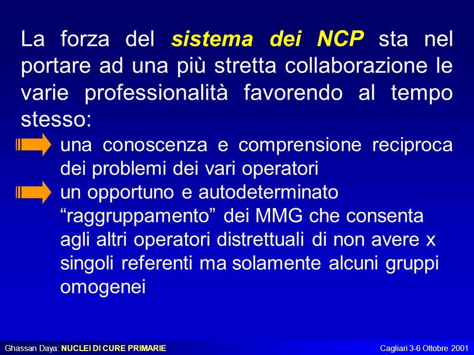 La forza del sistema dei NCP sta nel portare ad una più stretta collaborazione le varie professionalità favorendo al tempo stesso: