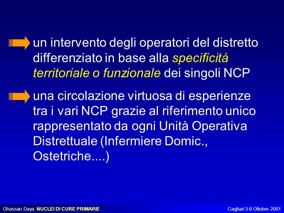 un intervento degli operatori del distretto differenziato in base alla specificità territoriale o funzionale dei singoli NCP