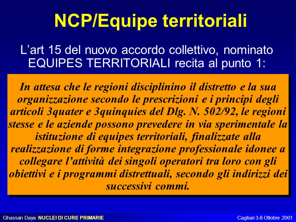NCP/Equipe territoriali