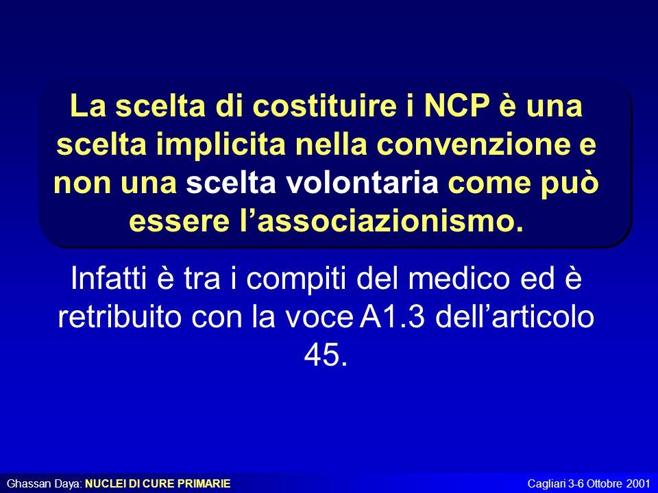 La scelta di costituire i NCP è una scelta implicita nella convenzione e non una scelta volontaria come può essere l'associazionismo.