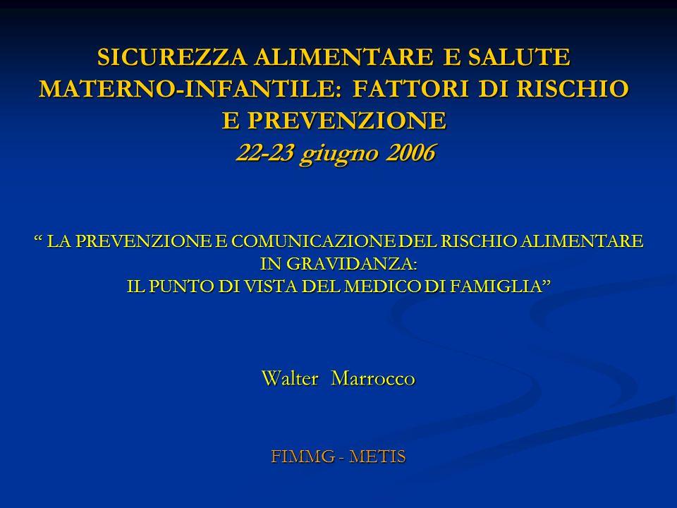 SICUREZZA ALIMENTARE E SALUTE MATERNO-INFANTILE: FATTORI DI RISCHIO E PREVENZIONE 22-23 giugno 2006