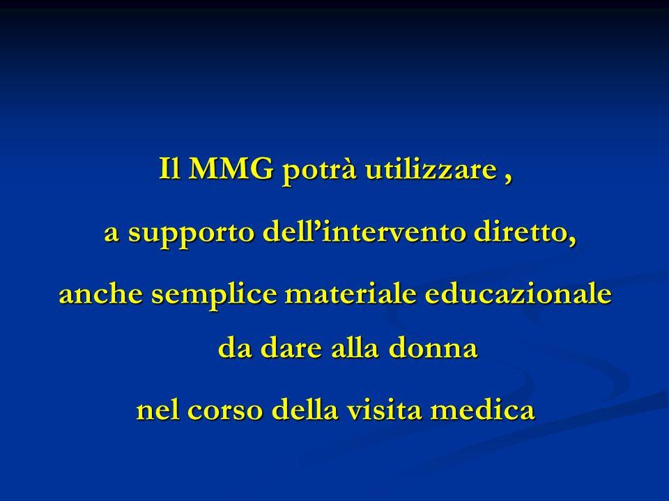 Il MMG potrà utilizzare , a supporto dell'intervento diretto,