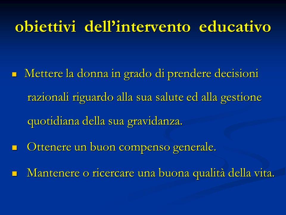 obiettivi dell'intervento educativo
