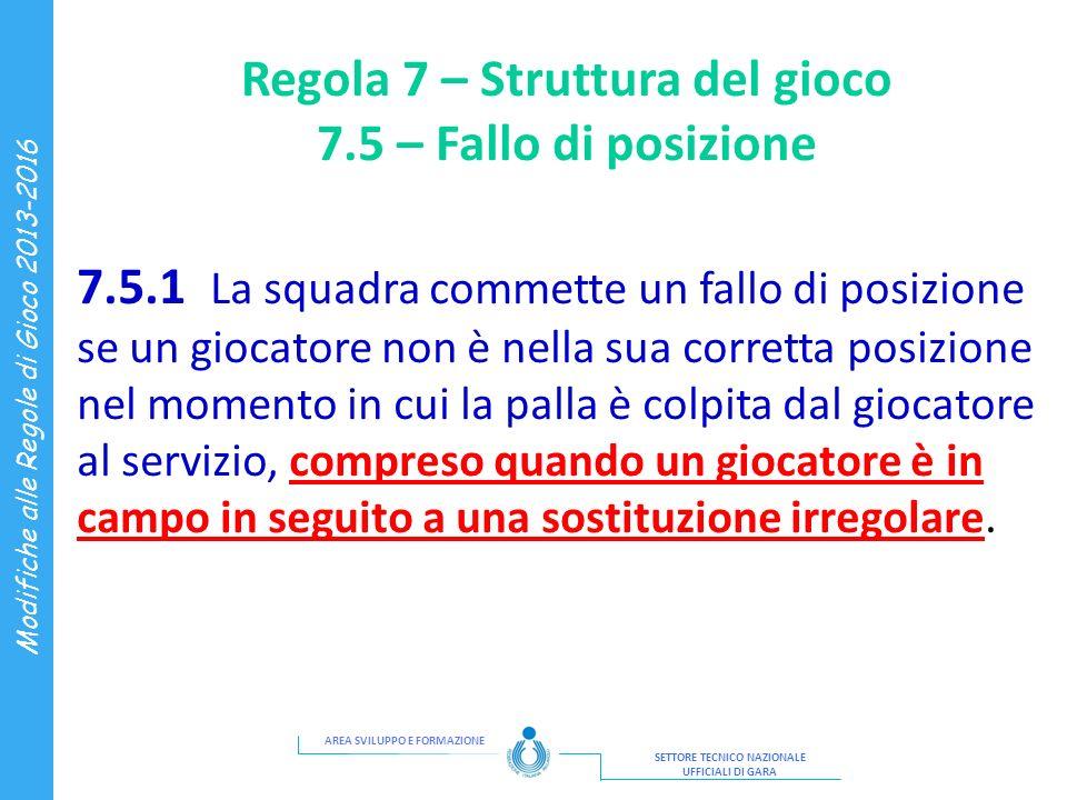 Regola 7 – Struttura del gioco 7.5 – Fallo di posizione