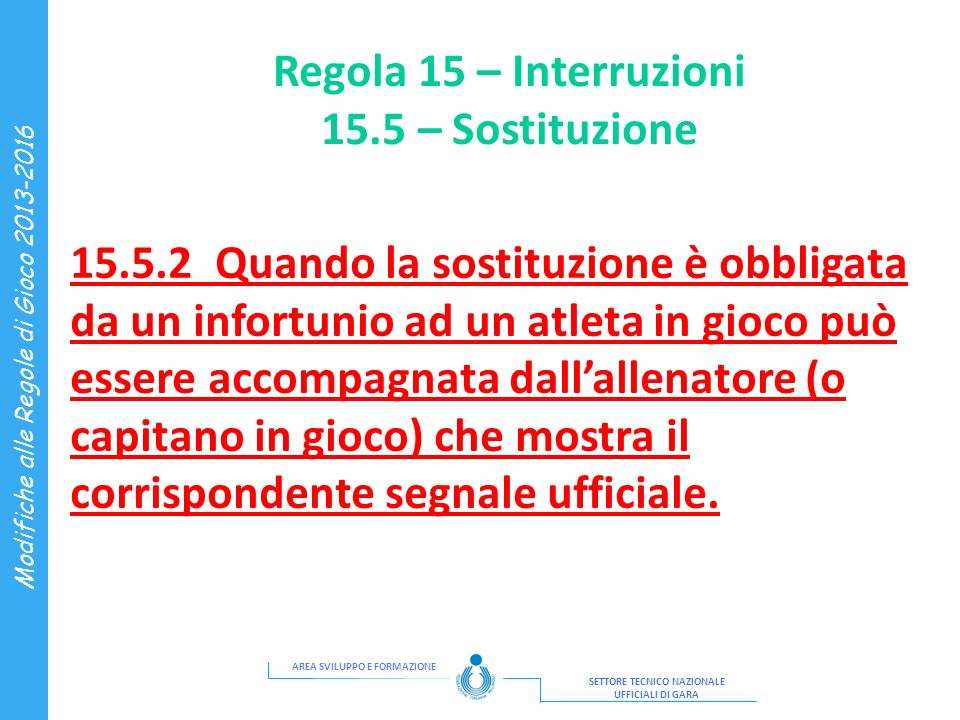 Regola 15 – Interruzioni 15.5 – Sostituzione