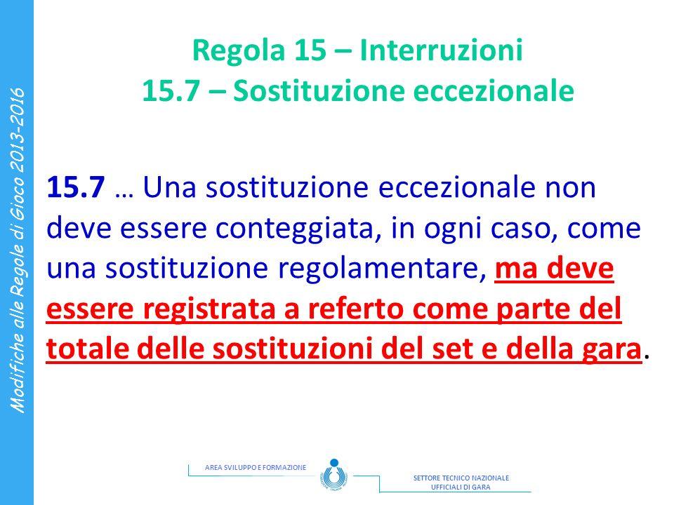 Regola 15 – Interruzioni 15.7 – Sostituzione eccezionale