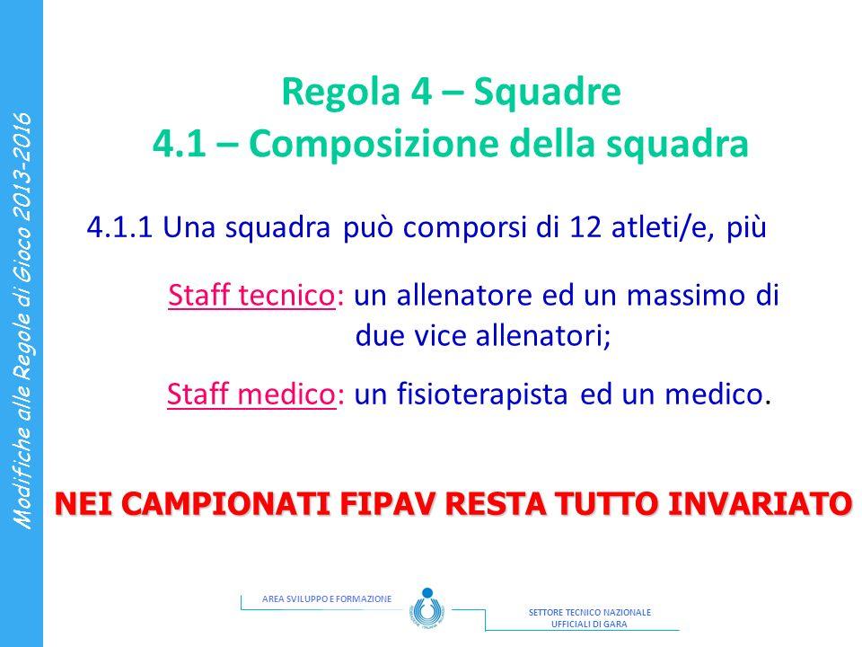 Regola 4 – Squadre 4.1 – Composizione della squadra