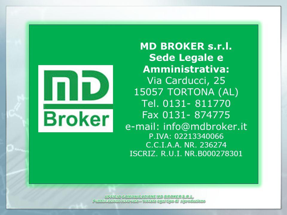 MD BROKER s.r.l. Sede Legale e Amministrativa: Via Carducci, 25 15057 TORTONA (AL) Tel. 0131- 811770 Fax 0131- 874775 e-mail: info@mdbroker.it